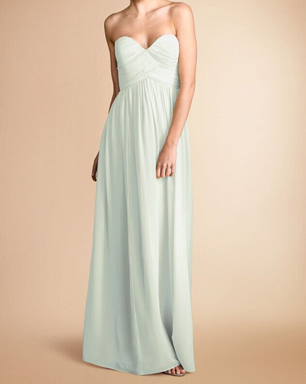 L30 Simple Chiffong Long Bridesmaid Dresses, Mint Long Prom Gowns