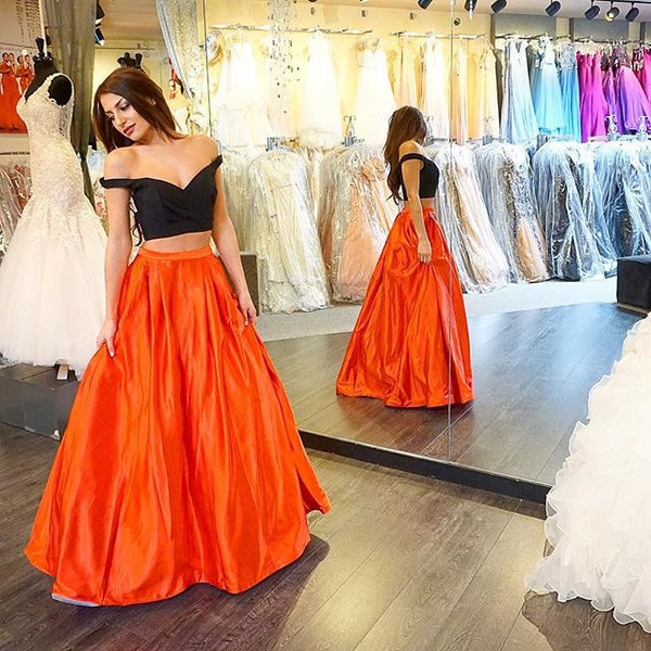L33 Black And Orange Prom Dresses,Two Pieces Prom Dresses,Formal Cocktail Gowns