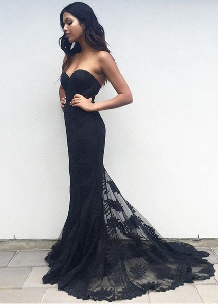 L35 Black Lace Prom Dress Party Gown Cocktail Formal Wear, Black Lace Prom Gowns