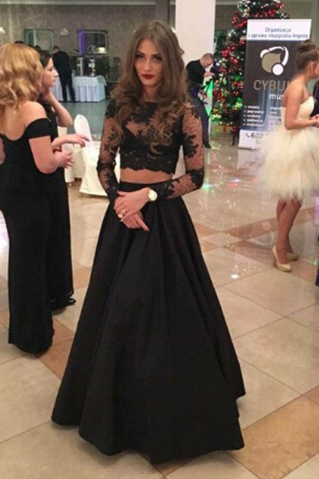 L37 Two Pieces Prom Dresses, A Line Everning Dresses, Lace Long Sleeve Prom Dresses