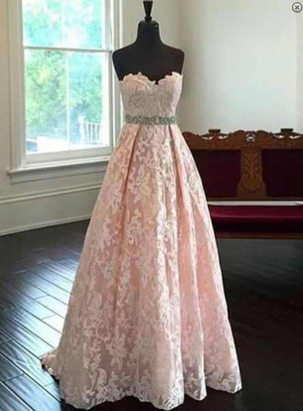 L39 blush pink prom dress,lace prom dress,sweetheart evening dress,evening gown 2017