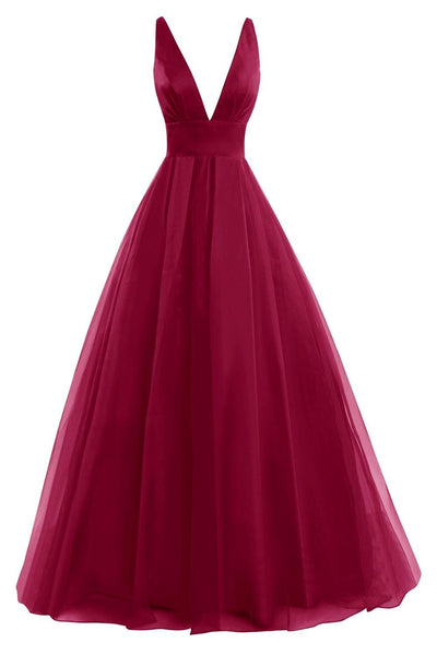 L41 Burgundy V-Neck Prom Dresses,A-Line Prom Dresses,Chiffon Evening Gowns,Backless Prom Dresses