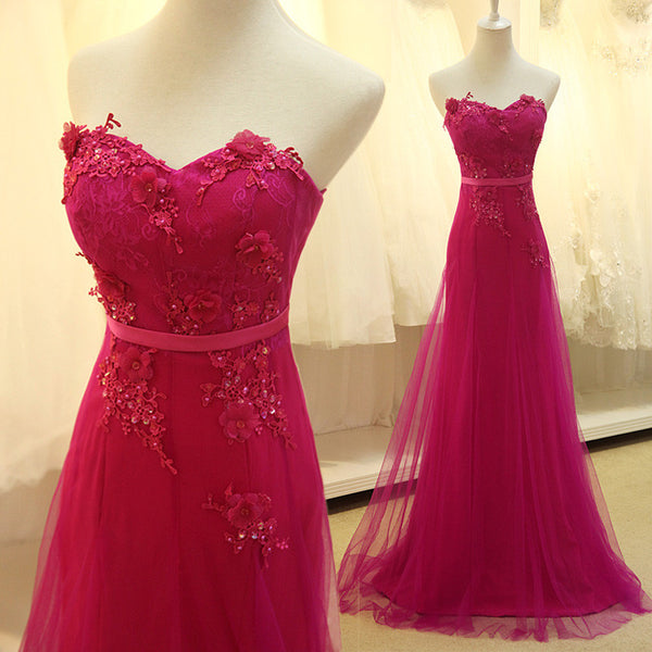 L47 Custom Made Rose Red Tulle Long Prom Dress With Lace Appliques, Delicate Formal Dresses
