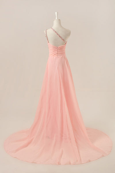 L48 Delicate Pink Prom Dresses, One Shoulder Prom Dresses, Beading Prom Gowns, Elegant Prom Dresses