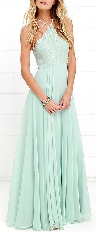 L51 Halter Mint Prom Gowns,Mint Chiffon Bridesmad Dress, Charming Lady Dresses