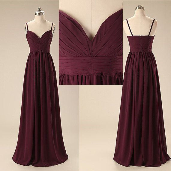 L54 Elegant Handmade Long Spaghetti Straps Simple Prom Dresses, Long Prom Gowns, Bridesmaid Dresses,