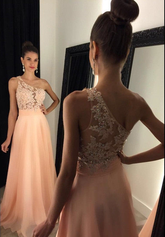 L56 Elegant One Shoulder Prom Dresses,Long Prom Dresses With Lace Appliques And Beading,See Though Party Dresses