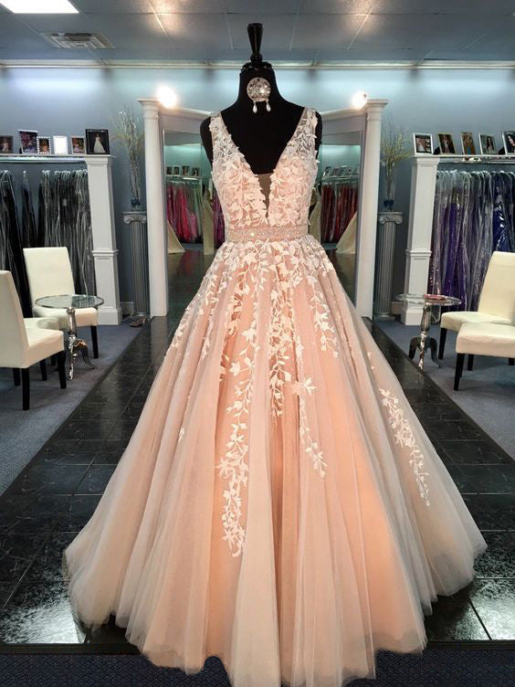 L59 Fashion Wedding Dresses, V Neck Prom Dresses, Sleeveless Prom Dresses, Charming Evening Gowns