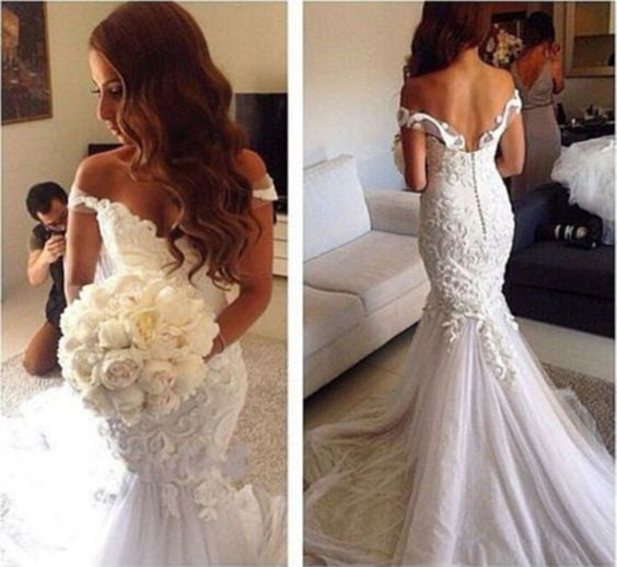 L63 Gorgeous Off the Shoulder Wedding Dresses, Backless Wedding Dresses, Mermaid Wedding Dresses