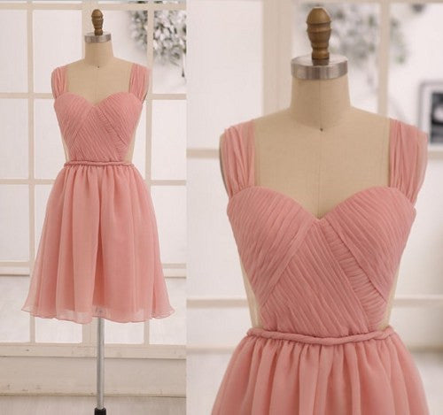 L66 Grace Blush Pink Prom Dresses,Chiffon Prom Dresses,See Through Backless Prom Dresses,Cute Bridesmaid Dresses