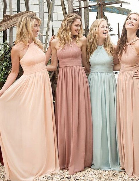 L67 Halter Chiffon bridesmaid dress, Long Bridesmaid dresses, Cheap Bridesmaid dresses, Custom bridesmaid dresses, bridesmaid dresses