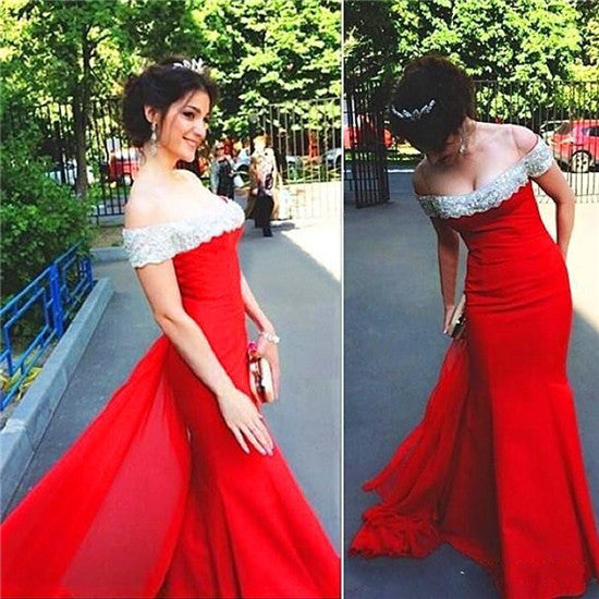 L77 New Arrival Red Prom dresses,Sexy Mermaid Prom Dresses,Bateau Prom Dresses