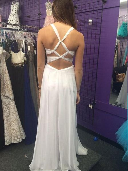 L7 Long Prom Dress,Chiffon Prom Dresses,White Evening Dress,Cross Back Prom Gowns