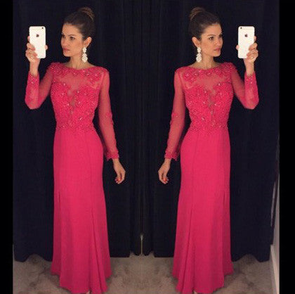 L86 Pretty Prom Formal Dresses, Long Sleeve Prom Dresses, Red Prom Dresses, O Neck Prom Dresses, Chiffon Prom Dresses