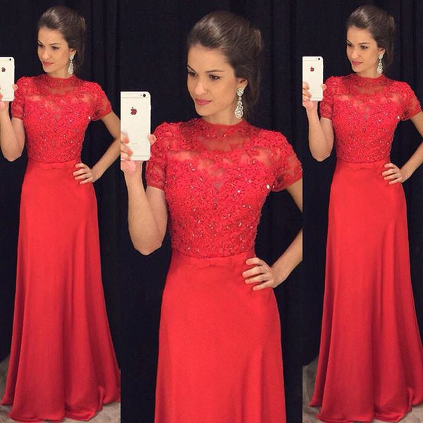 L90 Red Prom Dresses, Prom Gowns, Lace Prom Gowns, Elegant Evening Dresses, Modest Evening Gowns