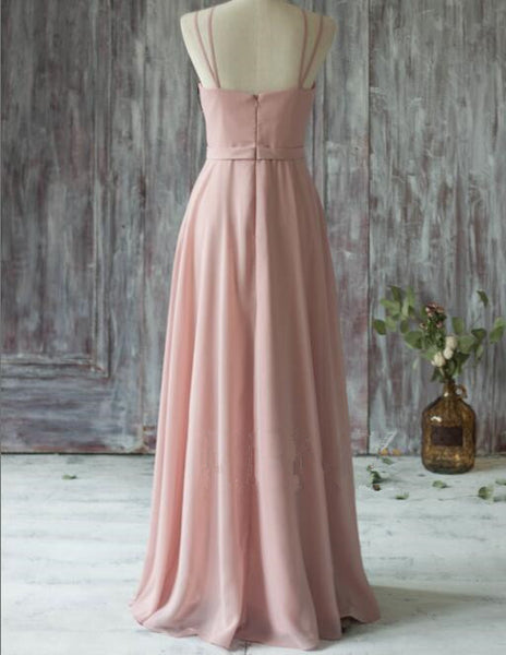 L97 Simple Spaghetti Straps V-neck Prom Dresses,Chiffon Prom Dresses in Dusty Pink