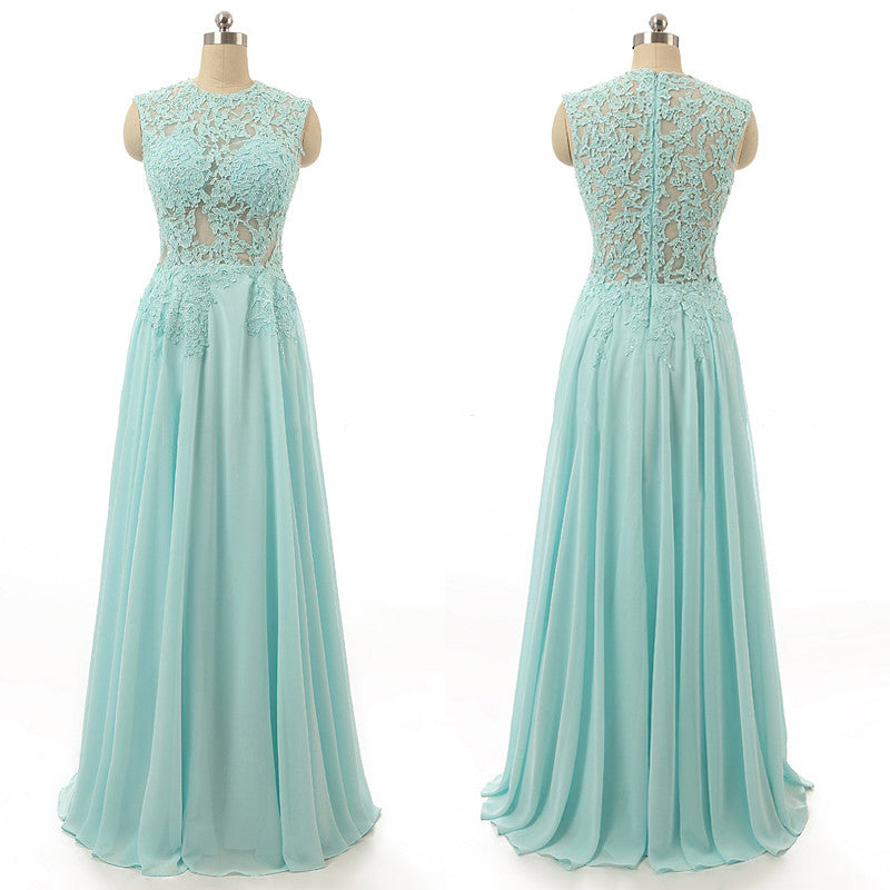 L98 Sleeveless High Neck Prom Dress,Chiffon Prom Dress, Elegant Sky Blue Prom Dress