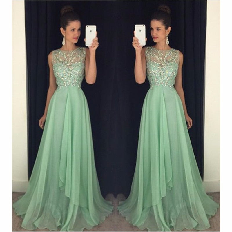 L369 Mint Green Prom Dress, Luxury Beaded Formal Party Dress, A Line Jewel Neck Floor Length Pageant Gala Dress, Plus Size Cheap Sexy Sheer Prom Dresses Long