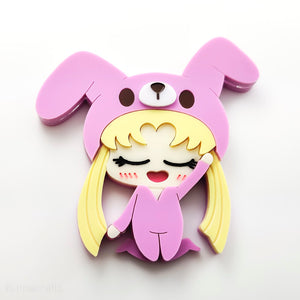 Sleepy Usagi Brooch or Keychain
