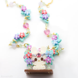 Bunny Floral Swing Necklace
