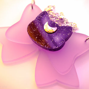 Moon Kitty Bow Necklace