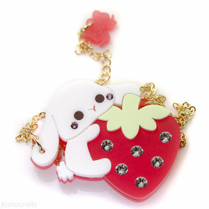 Strawberries and Cream Necklace or Brooch