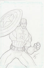Captain -Original Graphite on 11x17 Comic Board (Plus Bonus)