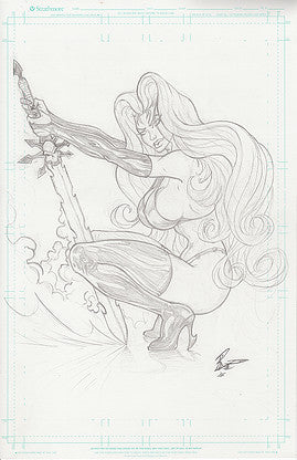 Lady Death - Original Line Art - 11x17 Comic Board