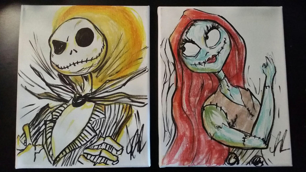SOLD! Set of 2 Original 8x10 Canvas Sketches-Glows in the Dark