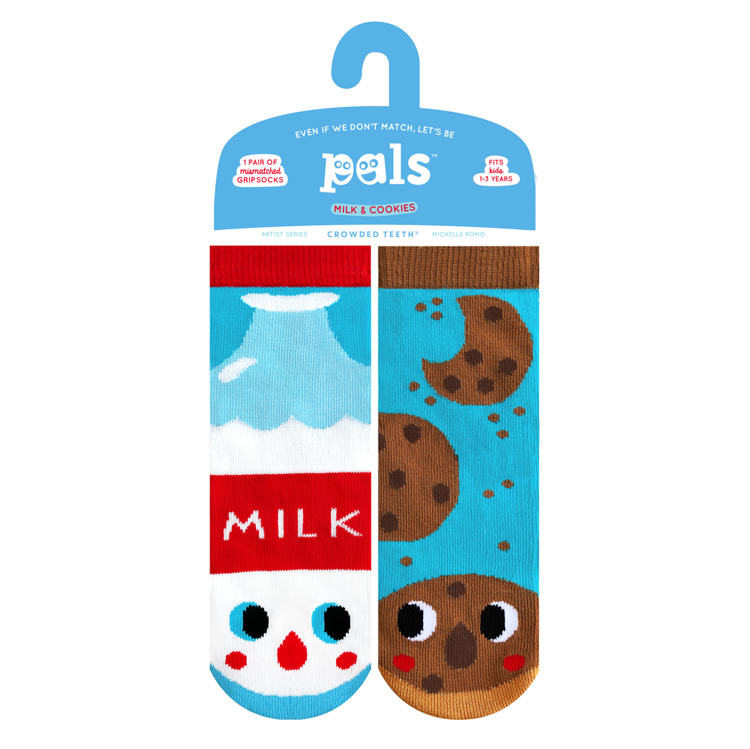 Pals Socks - NEW Milk & Cookies Pals Artist Kids Mismatched Food Socks