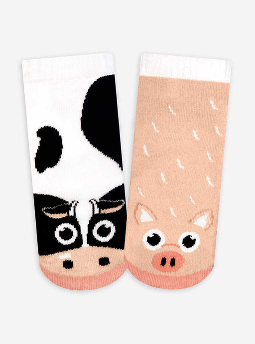 Pals Socks - Cow & Pig Kids Collectible Mismatched Barnyard Animals Socks