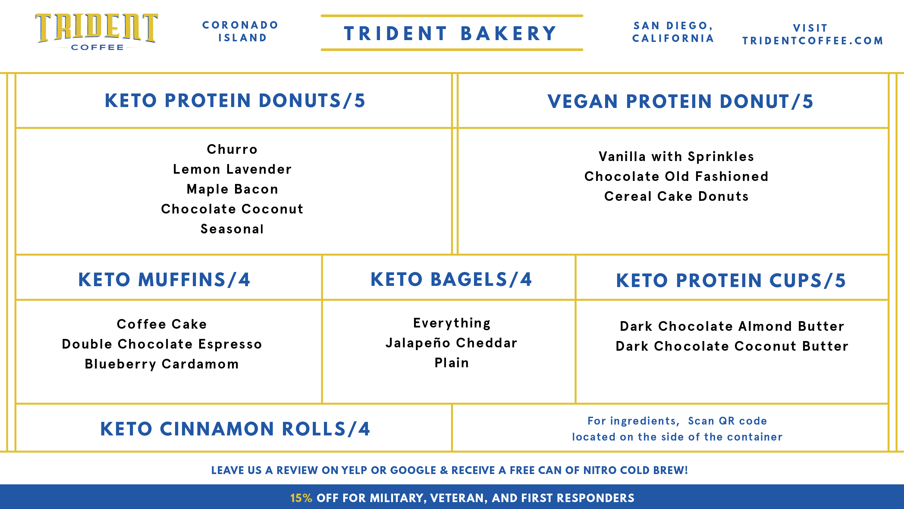 Coronado TapRoom and Keto Bakery Menu - Trident Coffee Bakery