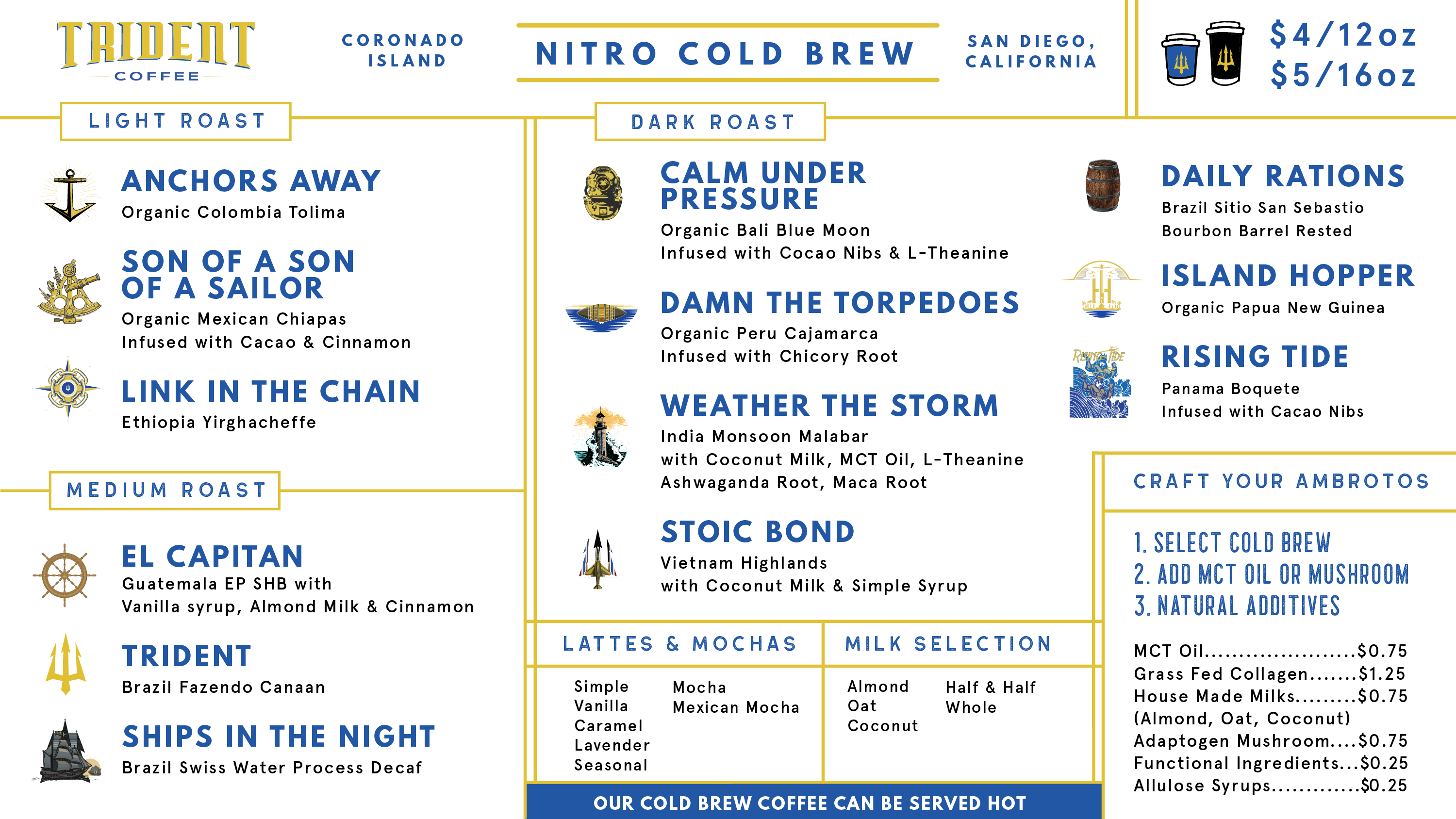 Coronado TapRoom and Keto Bakery Menu - Trident Coffee Nitro Cold Brew