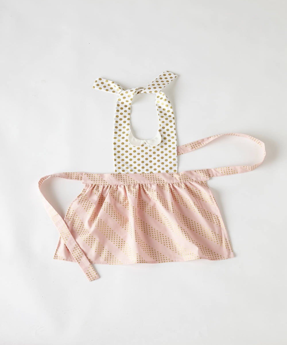 Child's Gidget Full Apron in Pink & Gold