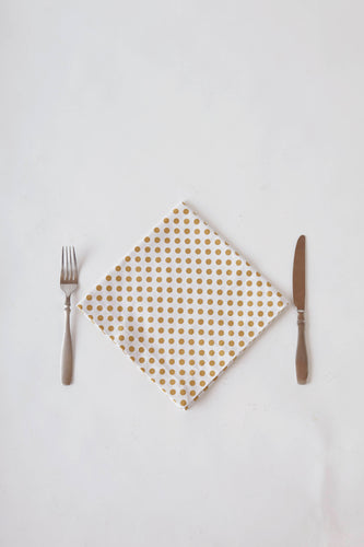 Gold Shimmer Polka Dot Dinner Napkin Set
