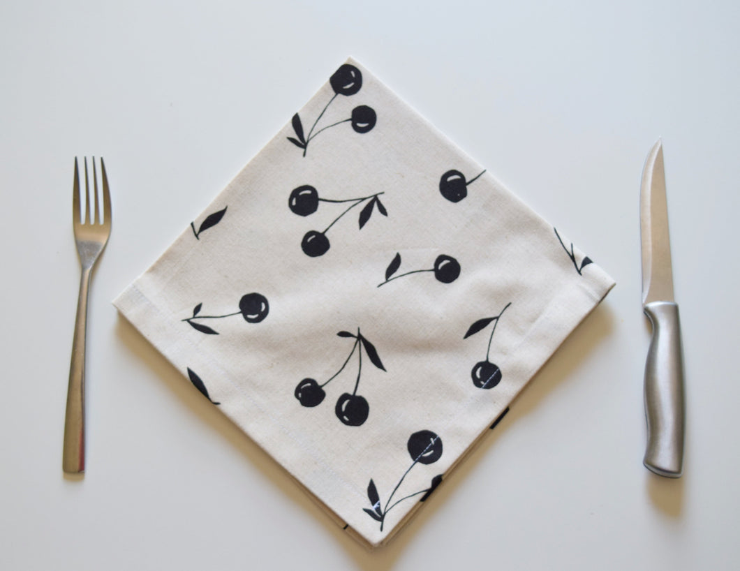 Handmade Dinner Napkin Cotton/Linen Cherry Print