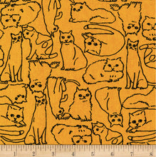Sevenberry Cotton Flax Cats Fabric by the Yard
