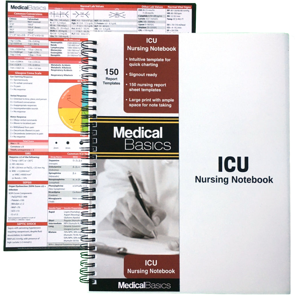 ICU Nursing Notebook - Patient Template Notebook for quick charting