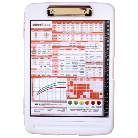 Storage Clipboard with Pen Box - Pediatrics Edition Quick Medical Reference