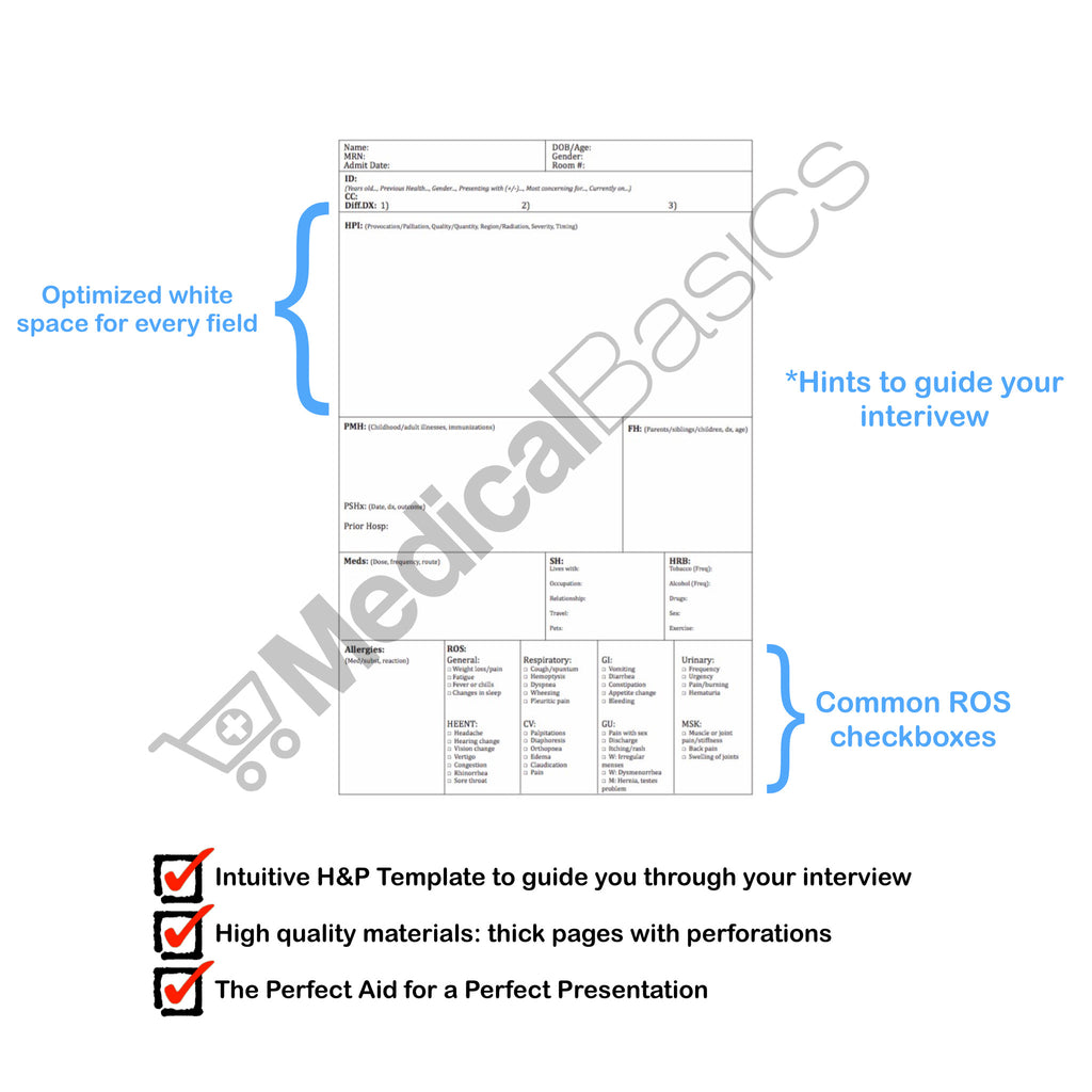 H p template notebook medical history and physical 100 for H and p template