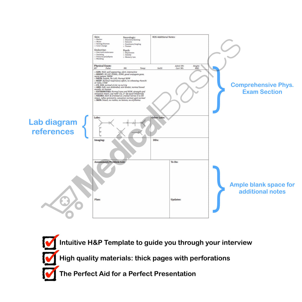 H P Template Notebook Medical History And Physical 100 Templates