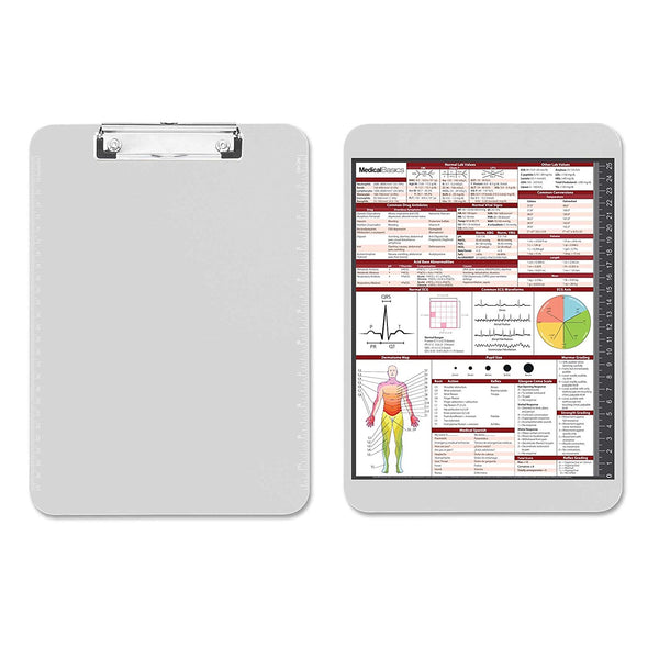 Flat Clipboard with Quick Medical Reference Sheet