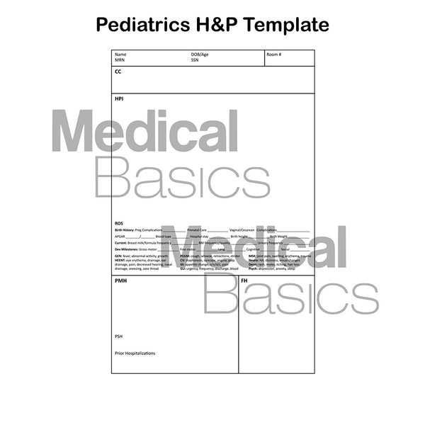 Pediatrics H&P notebook