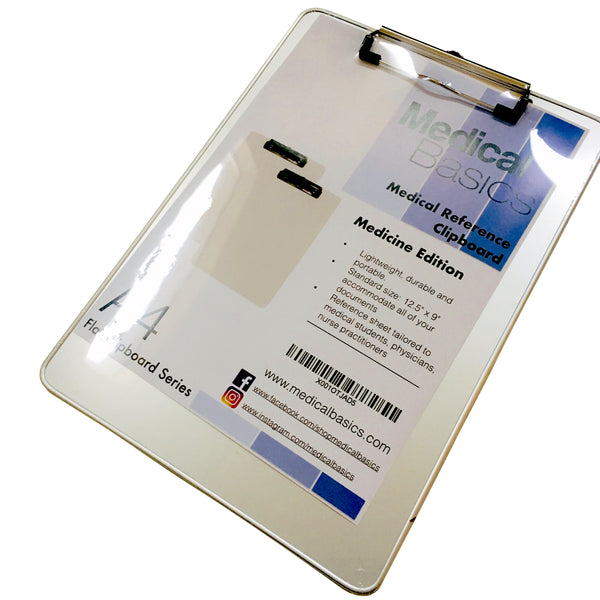 Aluminum Clipboard with Quick Medical Reference Sheet (Flat Clip)
