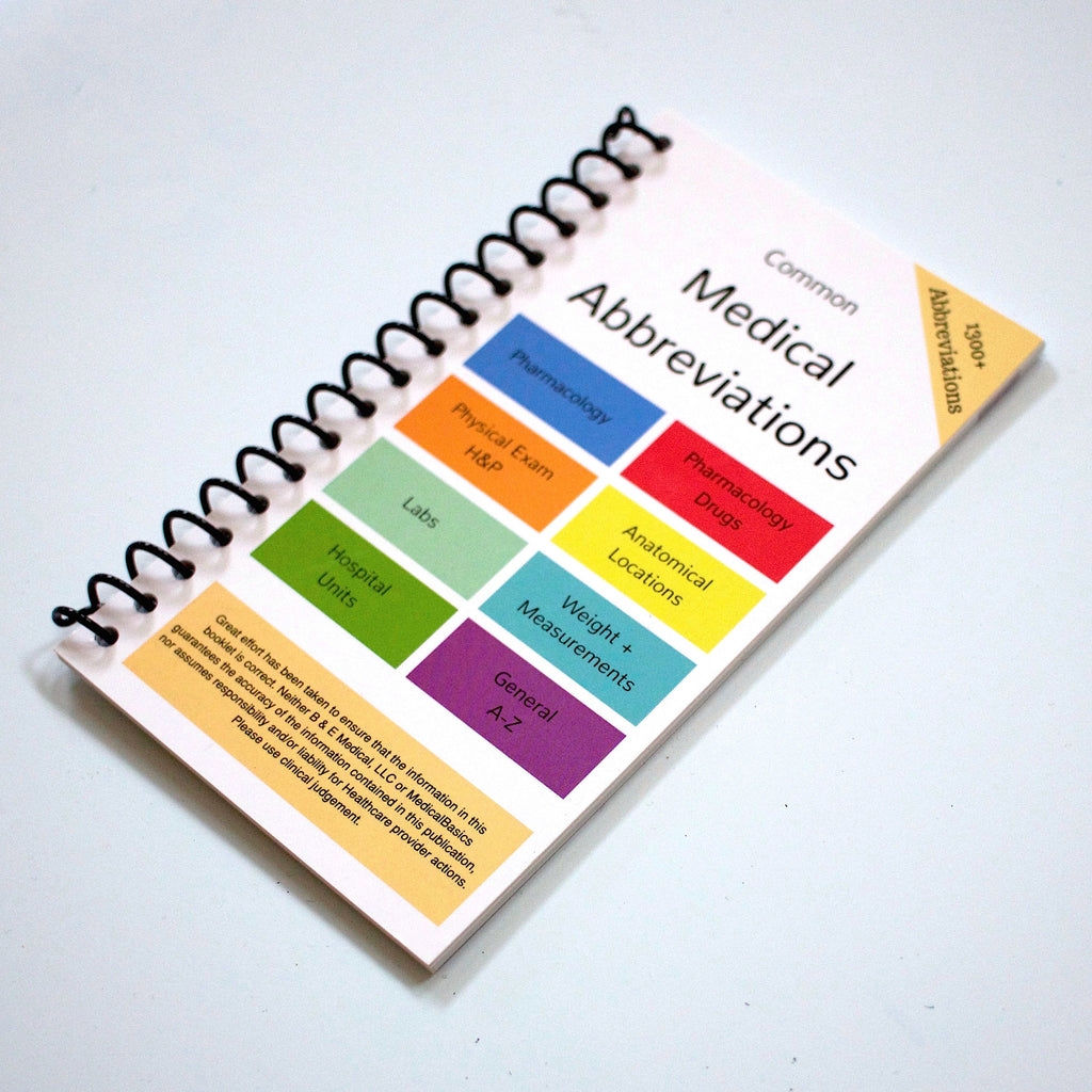 Medical abbreviation nt pertaining to chest -  Scrubnotes 13 Card Set With Medical Abbreviation Booklet
