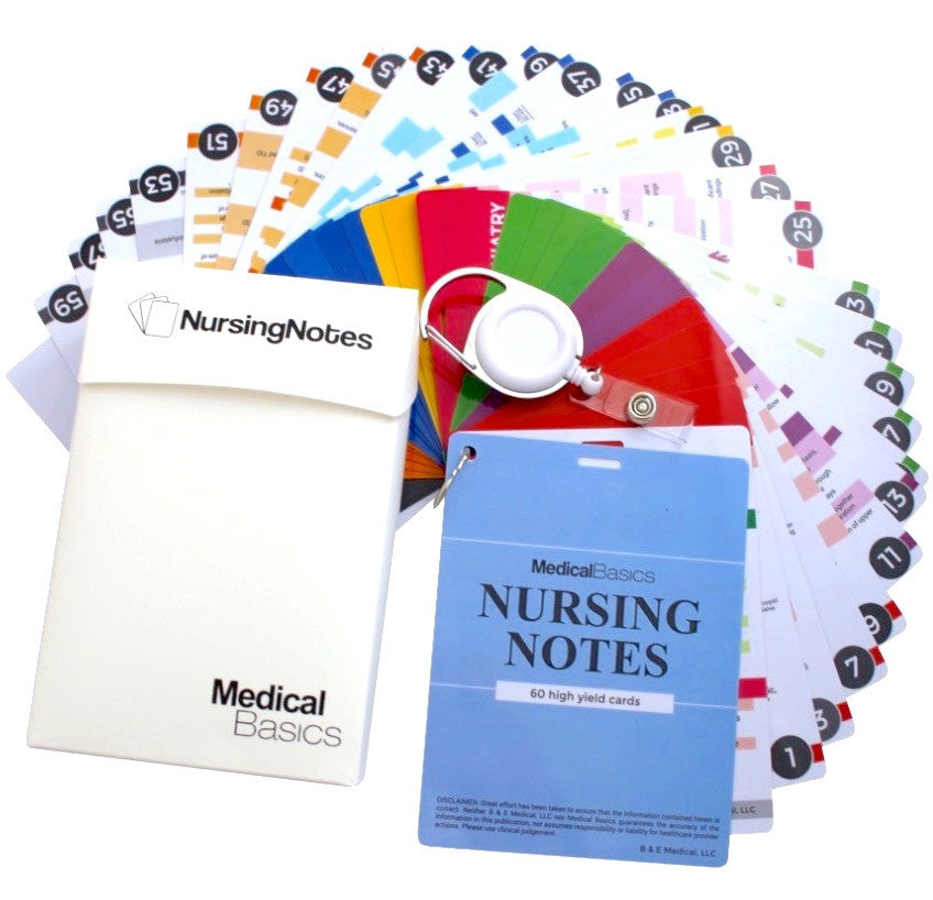 Nursing Notes - 60 High Yield Pocket Nursing Reference Card Set