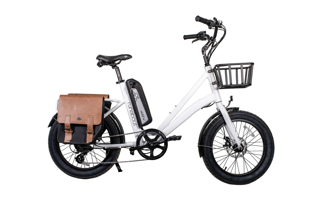 civi bikes runabout ebike white with leather pannier bags