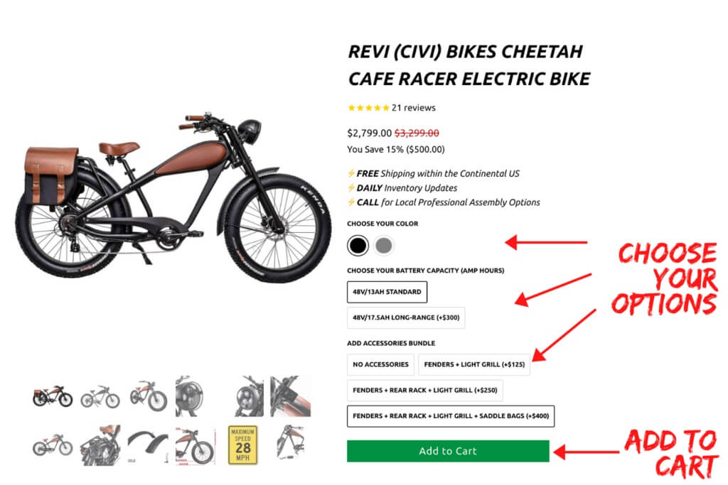 choose your options for cheetah product