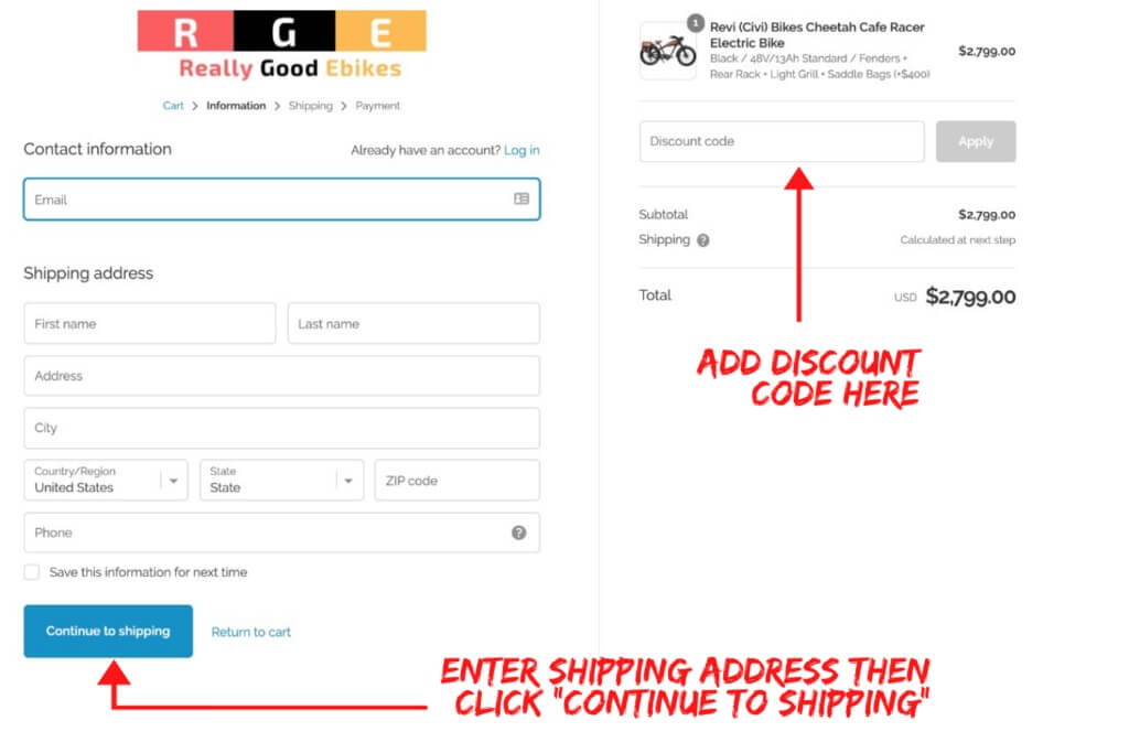 really good ebikes discount code entry and continue to shipping