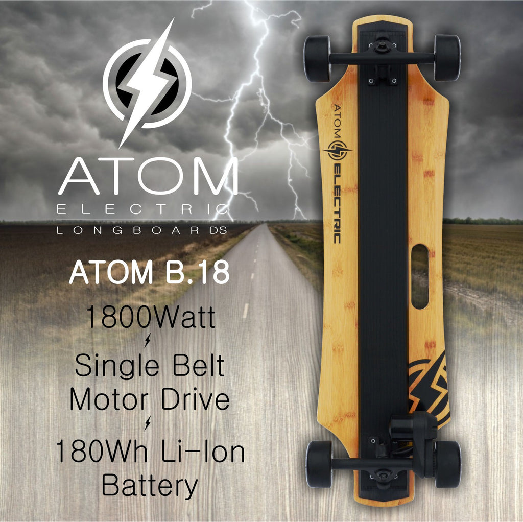 atom electric skateboard b.18 promotional advertisement